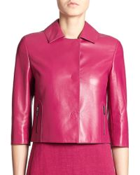 Akris Punto Cropped Leather Jacket - Lyst