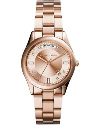 Michael Kors Colette Rose Golden Stainless Steel Watch - Lyst