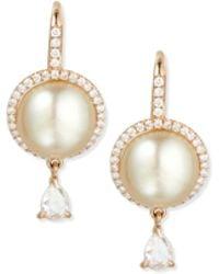Eli Jewels - 18k Rose Gold Tahitian Pearl & Diamond Earrings - Lyst