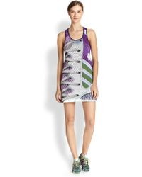 Adidas X Mary Katrantzou Perforated Shoelace-Print Tank Dress - Lyst