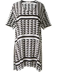 Edun Black And White Geometric Printed Silk Top - Lyst