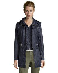 Laundry by Shelli Segal Dark Navy Cotton Drawstring Hooded 3/4 Length Rain Coat - Lyst