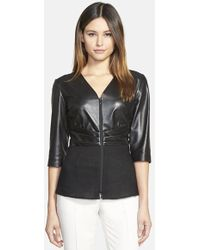 Lafayette 148 New York 'Miley' Nappa Leather & Linen Front Blouse - Lyst