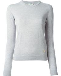 Kenzo Wool Sweater Pearl Grey - Lyst