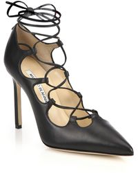 Manolo Blahnik Rogustta Lace-Up Leather Pumps black - Lyst