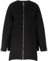 Antonio Berardi Black Virgin Wool Collarless Coat - Lyst