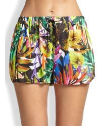 Milly Tropical-print Gathered Shorts - Lyst