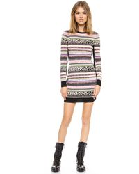 RED Valentino Knit Body Con Dress Black Multi - Lyst
