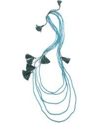 Serefina - Beaded Layer Tassel Necklace Sky Multi - Lyst