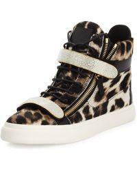 Giuseppe Zanotti Mens Leopard-Print Calf Hair High-Top Sneaker - Lyst