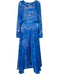 Preen Blue Silk Organza Ryde Dress - Lyst