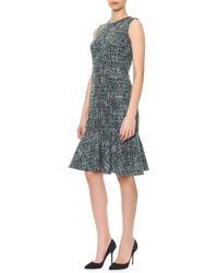 Dolce & Gabbana Sleeveless Tweed Flounce Dress - Lyst