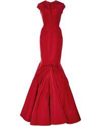 Zac Posen Paneled Silkfaille Gown - Lyst