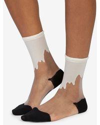 Hansel From Basel Drippy Print Sheer Crew Sock - Lyst