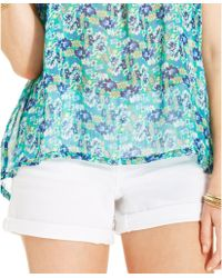 Jessica Simpson Cuffed Denim Shorts - Lyst
