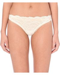 Calvin Klein Striking Lace And Mesh Thong - For Women - Lyst
