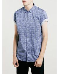 Topman Premium Short Sleeve Blue Shirt - Lyst