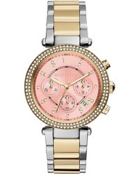 Michael Kors Parker Stainless Steel Glitz Watch - Lyst