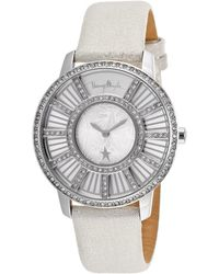 Thierry Mugler - Women's White Genuine Leather Silver-tone Dial Crystal Bezel - Lyst