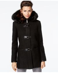 Kensie - Faux-fur-hood Buckled Contrast Coat - Lyst