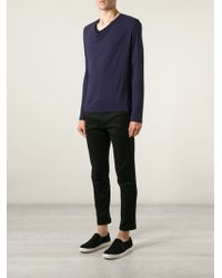 Sébastien Blondin - Draped-Collar T-Shirt - Lyst