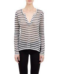 Barneys New York Stripe Split-Neck Sweater - Lyst