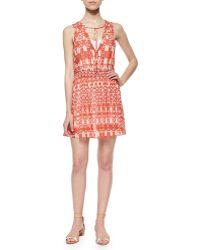 Townsen Roots Tie-Neck Printed Dress - Lyst