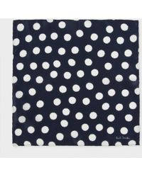 Paul Smith Navy 'Painted Dot' Print Silk Pocket Square - Lyst