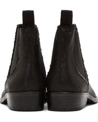Surface To Air - Black Snakeskin Classic Chelsea Boots - Lyst