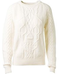 Alexander McQueen Ivory Cableknit Wool and Cashmereblend Pullover - Lyst