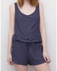 Pull&Bear Crossover-Back Striped Jumpsuit - Lyst