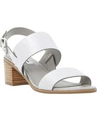 Dune Jakob Stacked Heel Leather Sandals - For Women silver - Lyst
