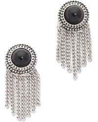 Sam Edelman - Stone Fringe Earrings - Black/rhodium - Lyst