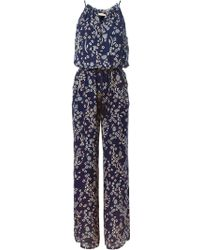 Tory Burch Drawstring Neck Printed Jumpsuit - Lyst