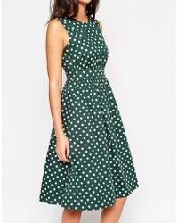 Emily And Fin | Emily & Fin Lucy Midi Dress In Polka Dot Print | Lyst