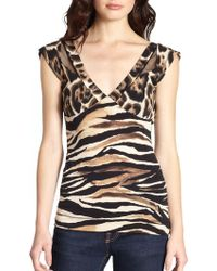 Just Cavalli Animal Print Jersey Top - Lyst