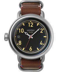 Nixon October Leather Black And Brown Watch black - Lyst