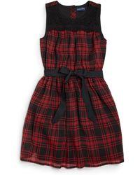 Ralph Lauren Girls Plaid Chiffon Dress - Lyst