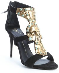 Giuseppe Zanotti Black Suede Metal And Turquoise Embellished Strappy Sandals - Lyst