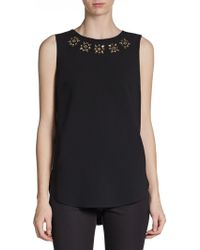 DKNY Sleeveless Beaded Blouse - Lyst