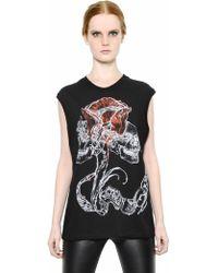 Alexander McQueen Twin Tulip Skull Printed Cotton Tshirt - Lyst