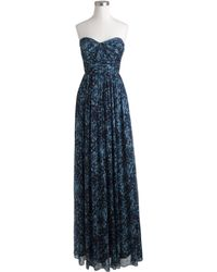 J.Crew Marbella Long Dress In Watercolor Silk Chiffon blue - Lyst
