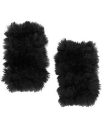 Jocelyn   Rex Rabbit Fur Fingerless Mittens: Black   Lyst