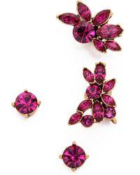 Oscar de la Renta Navette Crystal Cuff Earrings - Fuchsia - Lyst
