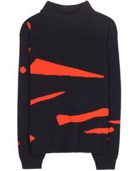 Jil Sander Navy Wool And Cotton-Blend Sweater - Lyst