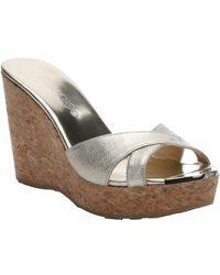 Jimmy Choo Champagne Leather 'Pandora' Slip-On Platform Wedge Sandals - Lyst