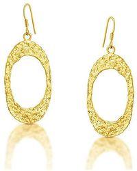 Belcho - Textured Flat Oval Earrings - Lyst