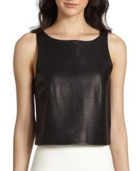 Tibi Crepe-back Leather Top - Lyst