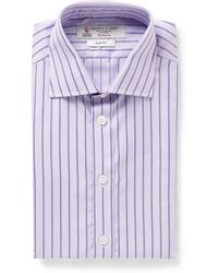 Turnbull & Asser Slimfit Purple Microcheck Cotton Shirt - Lyst