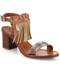 Ash Patchouli Beaded & Fringed Leather Sandals purple - Lyst
